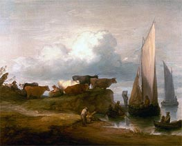 A Coastal Landscape, c.1782/84 by Gainsborough | Painting Reproduction