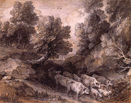 Wooded Landscape with Cattle and Goats, Undated by Gainsborough | Painting Reproduction