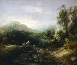 Mountain Landscape with Bridge, c.1783/84 by Gainsborough | Painting Reproduction