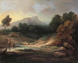 Landscape with Shepherd and Flock | Gainsborough | Painting Reproduction