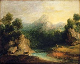 Pastoral Landscape (Rocky Mountain Valley with a Shepherd, Sheep, and Goats) | Gainsborough | Gemälde Reproduktion
