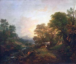 Landscape with Rustic Lovers, Two Cows, and a Man on a Distant Bridge | Gainsborough | Gemälde Reproduktion
