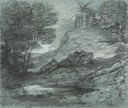 Wooded Landscape with Rustic Lovers, Packhorses and Windmill, Undated von Gainsborough | Gemälde-Reproduktion