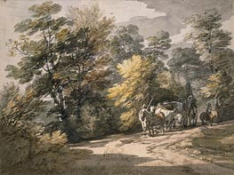 A Cart Passing along a Winding Road, 1765 by Gainsborough | Painting Reproduction