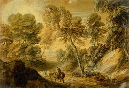 Wooded Landscape with Horseman and Pack Horse | Gainsborough | Painting Reproduction