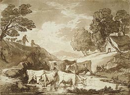 Wooded Landscape with Cows at a Watering Place, Figures and Cottage, c.1785 by Gainsborough | Painting Reproduction