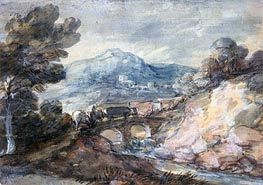 Landscape with Cattle Crossing a Bridge, 1785 by Gainsborough | Painting Reproduction