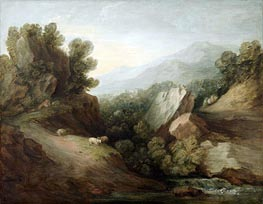 Rocky, Wooded Landscape with a Dell and Weir, c.1782/83 by Gainsborough | Painting Reproduction