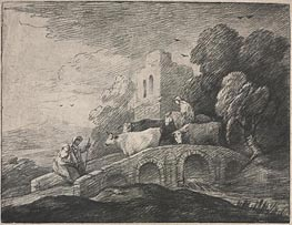 Wooded Landscape with Herdsmen Driving Cattle, c.1779/80 von Gainsborough | Gemälde-Reproduktion