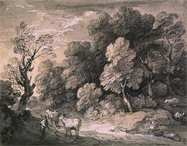 Wooded Landscape with Herdsman and Cattle, 1775 by Gainsborough | Painting Reproduction