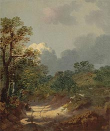 Wooded Landscape with a Shepherd Resting by a Sunlit Track and Scattered Sheep, Undated by Gainsborough | Painting Reproduction