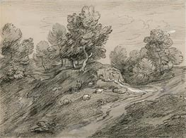 Wooded Upland Landscape with Shepherd and Sheep and Country Track Winding around a Knoll, c.1785 von Gainsborough | Gemälde-Reproduktion