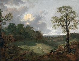 Wooded Landscape with a Cottage and Shepherd, c.1748/50 by Gainsborough | Painting Reproduction
