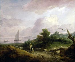 Coastal Landscape with a Shepherd and His Flock, c.1783/84 by Gainsborough | Painting Reproduction