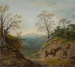 Wooded Landscape with a Boy Leading a Donkey, c.1760/1765 by Gainsborough | Painting Reproduction