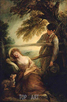 Haymaker and Sleeping Girl (Mushroom Girl), 1789 | Gainsborough | Gemälde Reproduktion