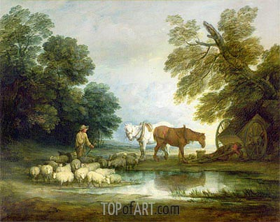 Shepherd by a Stream, Undated   Gainsborough   Painting Reproduction
