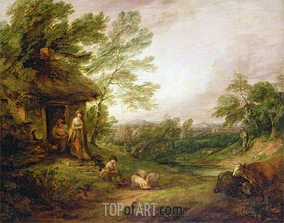 Cottage Door with Girl and Pigs, c.1786 | Gainsborough | Painting Reproduction