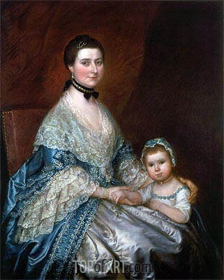 Mrs. Bedingfield and her Daughter, c.1760/70   Gainsborough   Painting Reproduction