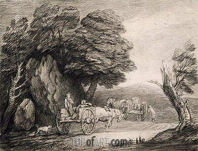 Wooded Landscape with Carts and Figures, Undated | Gainsborough | Painting Reproduction