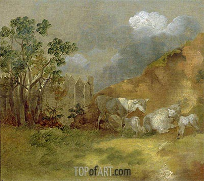 Landscape with Sheep, c.1744 | Gainsborough | Painting Reproduction