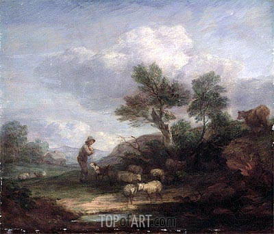 Landscape with Sheep, Undated   Gainsborough   Painting Reproduction