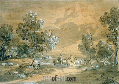 An Open Landscape with Travellers on a Road, Undated | Gainsborough | Painting Reproduction