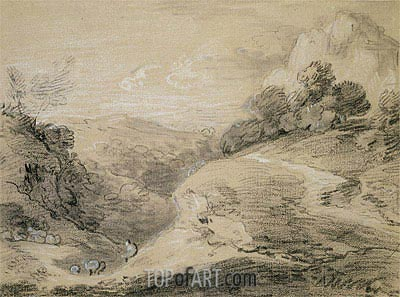 A Hilly Landscape with Shepherd and Sheep, Undated | Gainsborough | Painting Reproduction