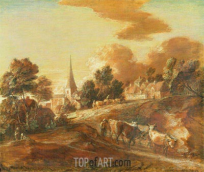 An Imaginary Wooded Village with Drovers and Cattle, c.1771/72 | Gainsborough | Painting Reproduction