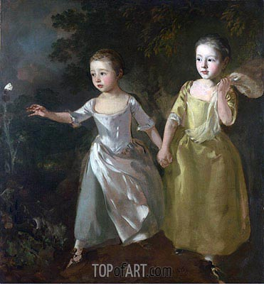 The Painter's Daughters Chasing a Butterfly, c.1756 | Gainsborough | Painting Reproduction