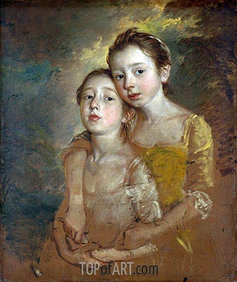 The Painter's Daughters with a Cat, c.1760/61 | Gainsborough | Painting Reproduction