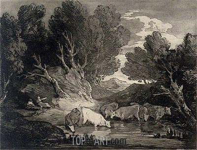 Wooded Landscape with Figures and Cows at a Watering Place, c.1776/77   Gainsborough   Painting Reproduction