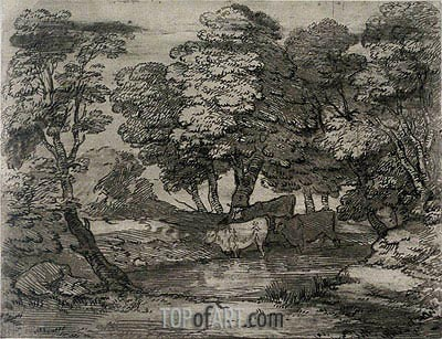 Wooded Landscape with Three Cows at a Pool, Undated   Gainsborough   Painting Reproduction