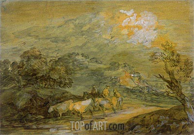 Upland Landscape with Figures, Riders and Cattle, c.1780/90 | Gainsborough | Painting Reproduction