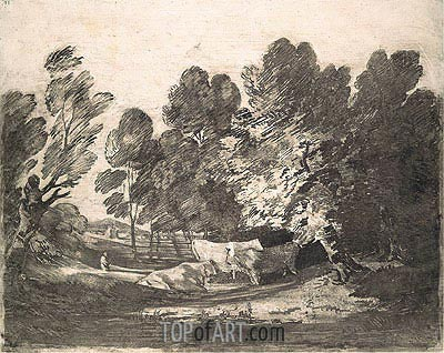 Wooded Landscape with Herdsmen and Cows, c.1780/88 | Gainsborough | Gemälde Reproduktion