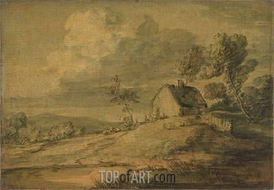 Wooded Landscape with Cottage, Cows and Sheep, c.1770 | Gainsborough | Gemälde Reproduktion