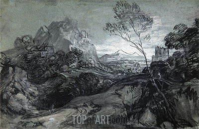 Mountain Landscape with Figures and Buildings, c.1770 | Gainsborough | Gemälde Reproduktion