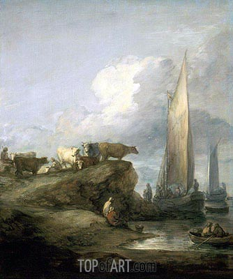 Coastal Scene with Shipping and Cattle, c.1781/82 | Gainsborough | Painting Reproduction