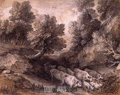 Wooded Landscape with Cattle and Goats, Undated | Gainsborough | Painting Reproduction
