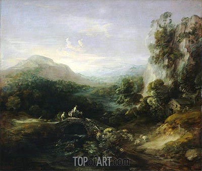 Mountain Landscape with Bridge, c.1783/84 | Gainsborough | Painting Reproduction