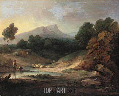 Landscape with Shepherd and Flock, 1784 | Gainsborough | Painting Reproduction