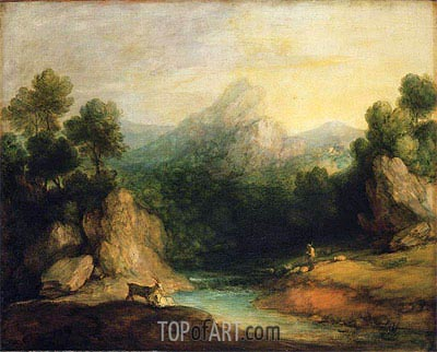 Pastoral Landscape (Rocky Mountain Valley with a Shepherd, Sheep, and Goats), c.1783 | Gainsborough | Gemälde Reproduktion