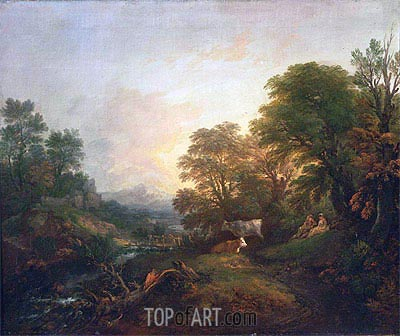 Landscape with Rustic Lovers, Two Cows, and a Man on a Distant Bridge, c.1755/59 | Gainsborough | Painting Reproduction
