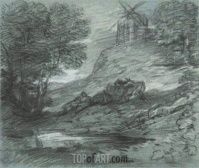 Wooded Landscape with Rustic Lovers, Packhorses and Windmill, Undated | Gainsborough | Painting Reproduction