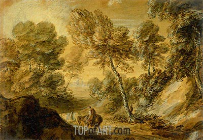 Wooded Landscape with Horseman and Pack Horse, c.1770   Gainsborough   Painting Reproduction