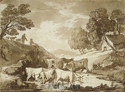 Wooded Landscape with Cows at a Watering Place, Figures and Cottage, c.1785 | Gainsborough | Painting Reproduction