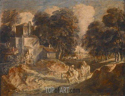 Landscape with Travelers, 1772 | Gainsborough | Painting Reproduction