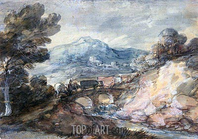 Landscape with Cattle Crossing a Bridge, 1785 | Gainsborough | Painting Reproduction
