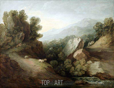 Rocky, Wooded Landscape with a Dell and Weir, c.1782/83 | Gainsborough | Painting Reproduction