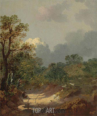 Wooded Landscape with a Shepherd Resting by a Sunlit Track and Scattered Sheep, Undated   Gainsborough   Painting Reproduction